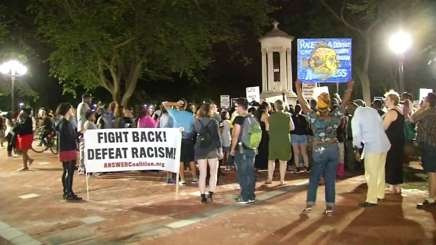 Protesters took to the streets of New Haven in the name of 'Black Lives Matter' on Friday. (WFSB photo)