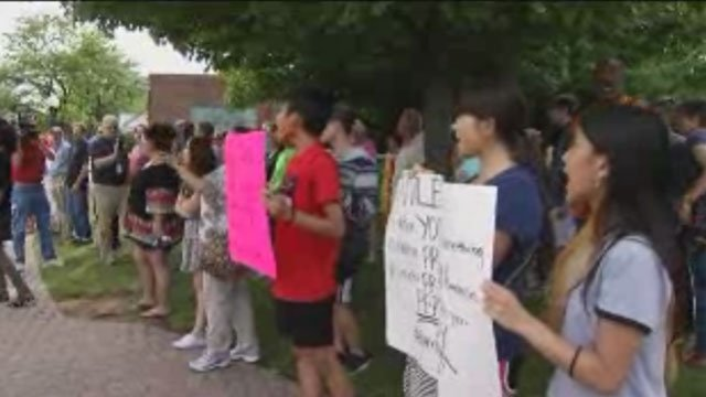 Dozens of protesters participate Black Lives Rally on Momnday evening. (WFSB)