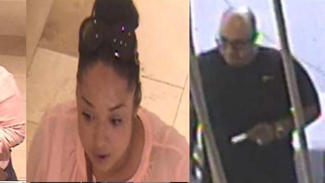 Police are trying to identify two people accused of shoplifting from Saks Fifth Avenue. (Greenwich Police)