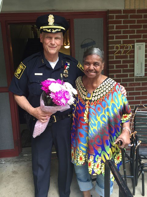 Hartford Police Chief James Rovella and the mother of Laverne Terry (family photo)