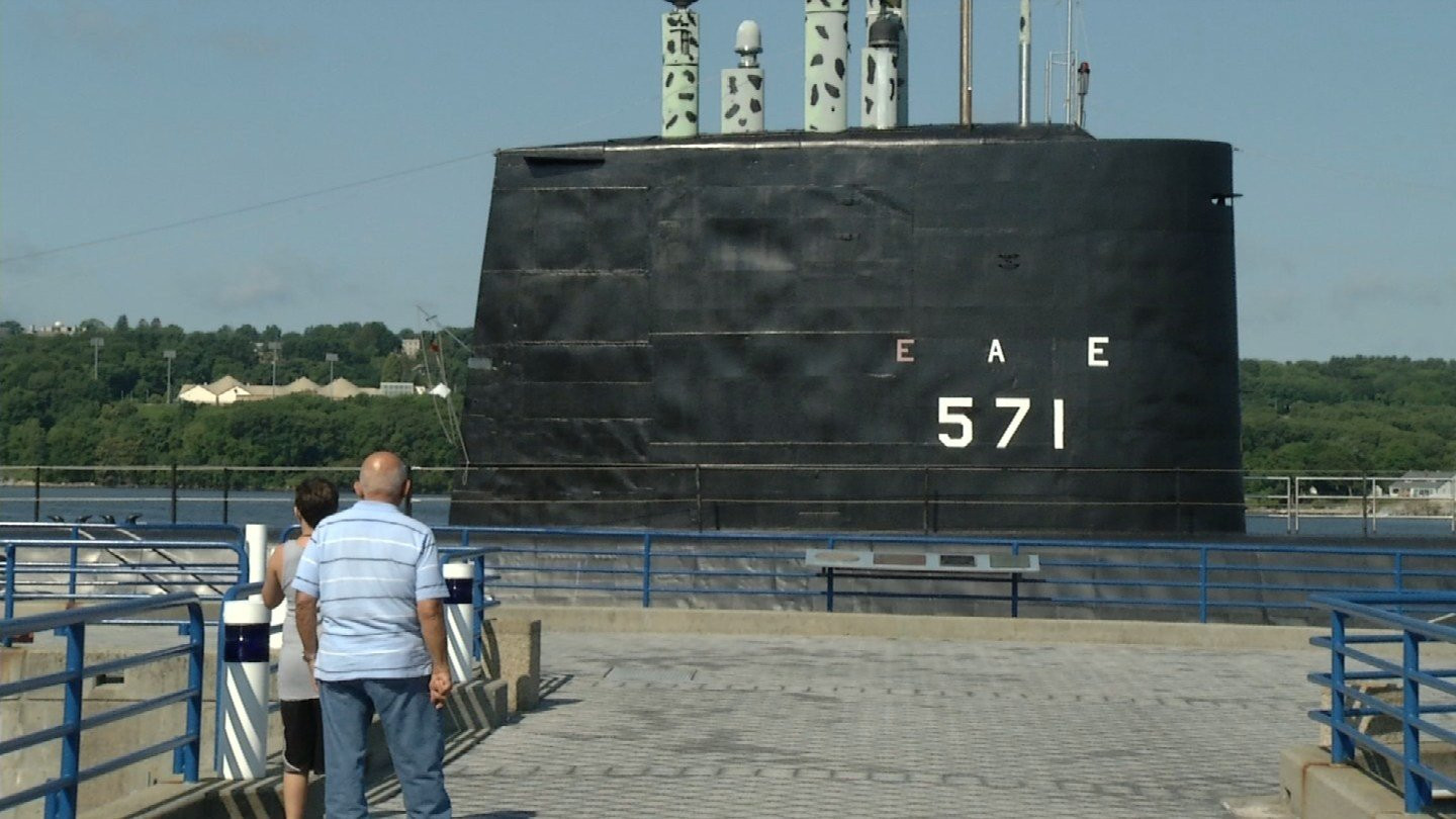 An app reminiscent of the new Pokemon Go game is being used to celebrate a hundred years of the U.S. Navy's first submarine base. (WFSB photo)