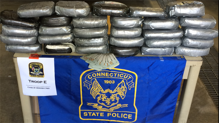 Police seized 29 kilograms of cocaine during traffic stops in Groton. (CT State Police)