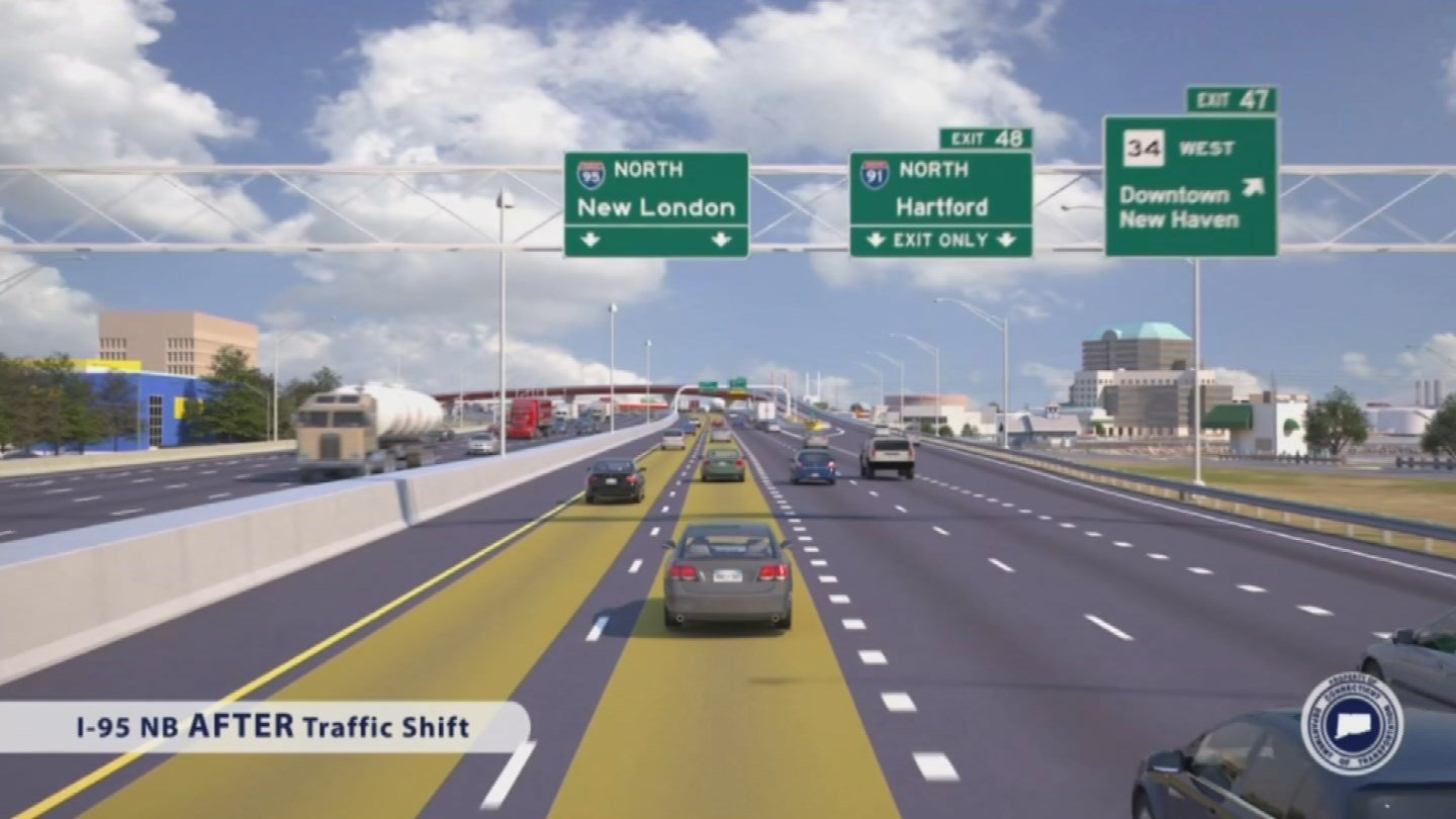 Lanes will be shifting on I-95 north in New Haven this weekend. (DOT photo)