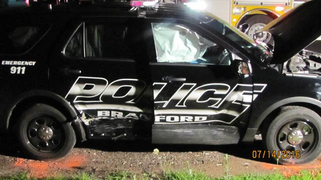 Two officers were hurt by a suspected DUI driver in Branford Thursday night. (WFSB photo)