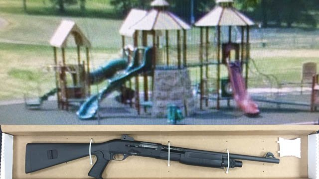 Hartford police said they found a shotgun in this playscape. (Hartford police photos)