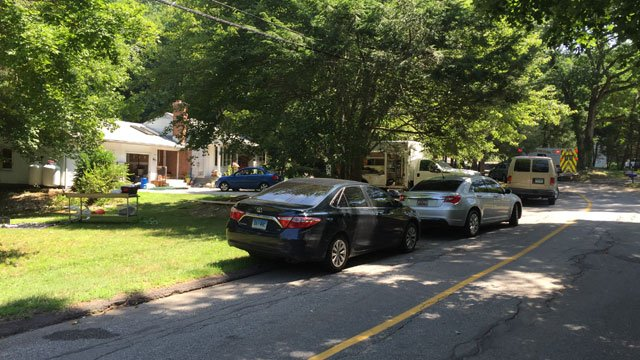Ponsett Road is closed because of the police investigation on Monday morning. (WFSB)