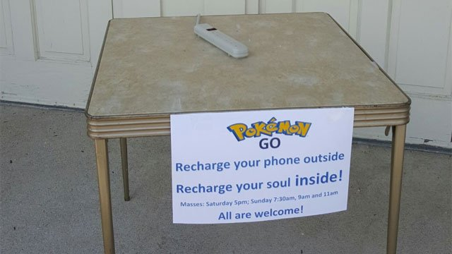 """A """"recharging station"""" was setup at Scared Heart Church in Southbury for Pokemon Go gamers."""
