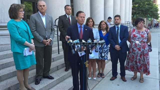 Sen. Richard Blumenthal joined 9/11 families to push a bill that would allow terrorism victims to sue countries that have supported extremism. (WFSB photo)
