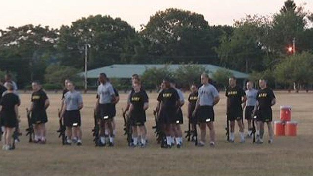 National Guard officer candidates undergo physical fitness challenges as part of training on Wednesday. (WFSB photo)