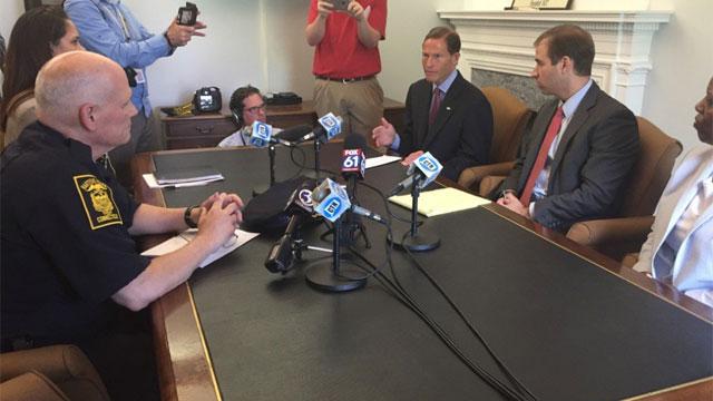 Hartford Mayor Luke Bronin and police Chief James Rovella discuss race relations with Sen. Richard Blumenthal on Wednesday. (WFSB)