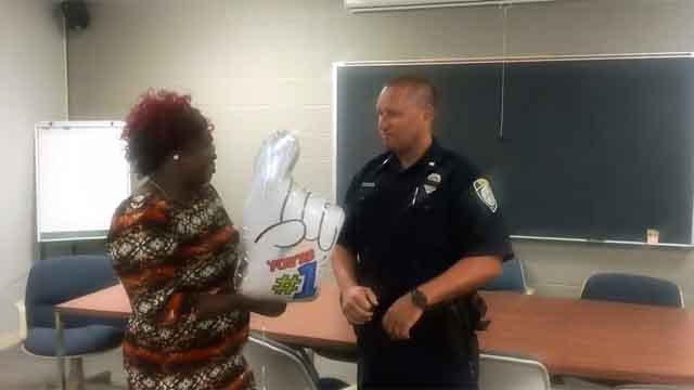 Barbie shows appreciation for Officer Robert Dabkowski (Suffield Police Department)