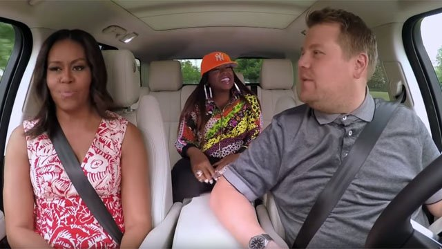 First Lady Michelle Obama carpools with James Corden and Missy Elliott. (CBS photo)