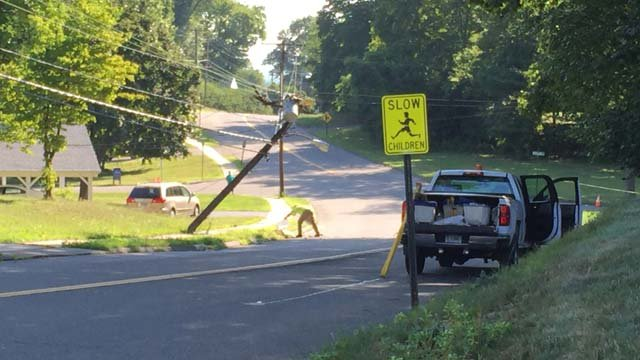 Utility pole repairs on Nott Street in Wethersfield were expected to keep the road closed for most of the day. (WFSB photo)
