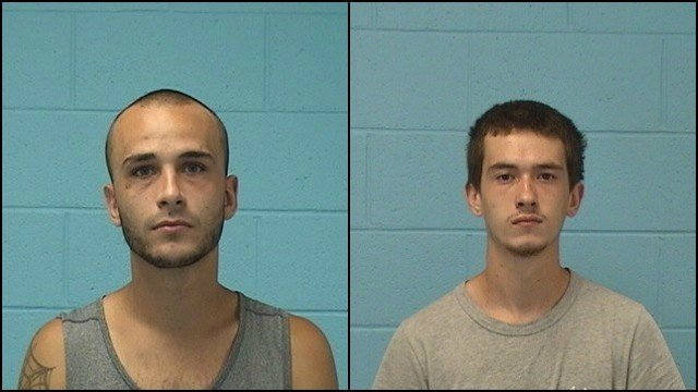 Troy Apicella, 25, and Domenic Lanza, 19, were arrested for stealing landscaping equipment. (Wolcott PD)