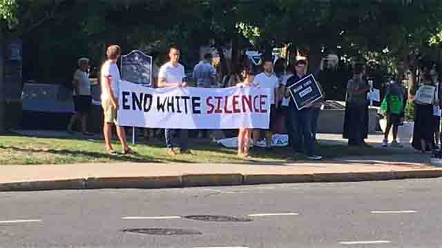 A group of protesters marched through West Hartford on Thursday on behalf of the Black Lives Matter movement. (WFSB)