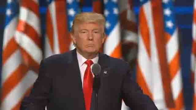 Donald Trump speaks at RNC on Thursday. (CBS NEWS)