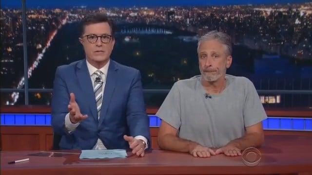 Stephen Colbert was joined by Jon Stewart Thursday night. (CBS photo)