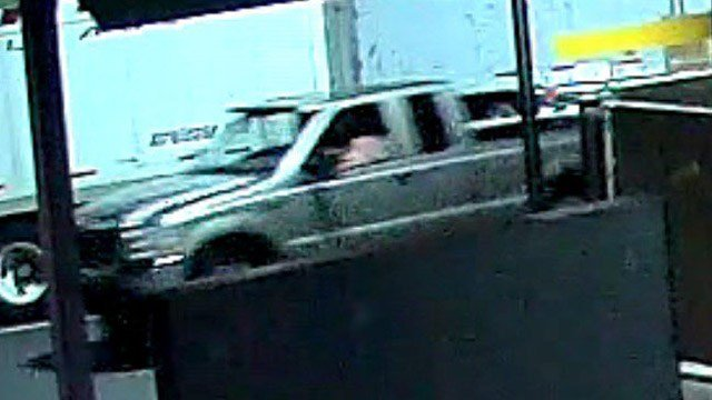 State police are looking for this tan truck in connection with a bullet hole that was found in a tractor trailer door. (State police photo)
