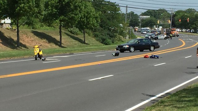 Motorcycle crash closes Route 3 in Rocky Hill. (WFSB)