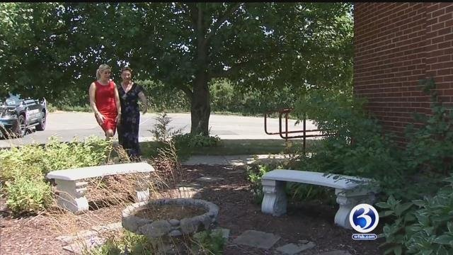 Benches were donated First Baptist Church after the theft. (WFSB)