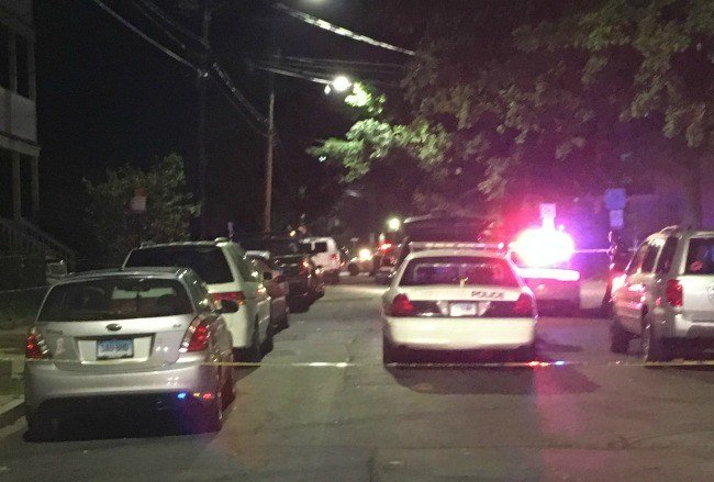 Scene of a deadly shooting on Kensington Street in New Haven. (WFSB)