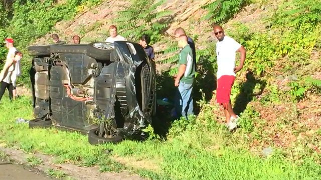 Eric Tangney took this photo of the rollover crash.