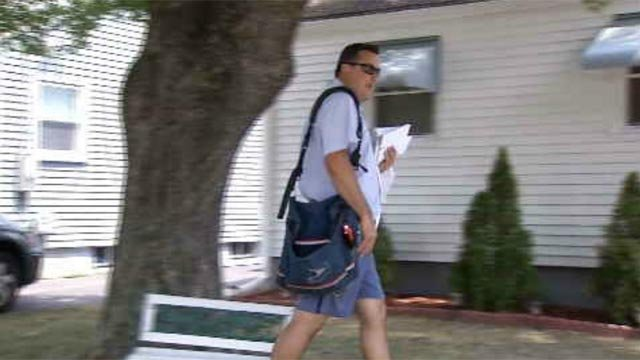 On Wednesday, Eyewitness News followed the job of a postal worker who walks miles every day to deliver mail. (WFSB)