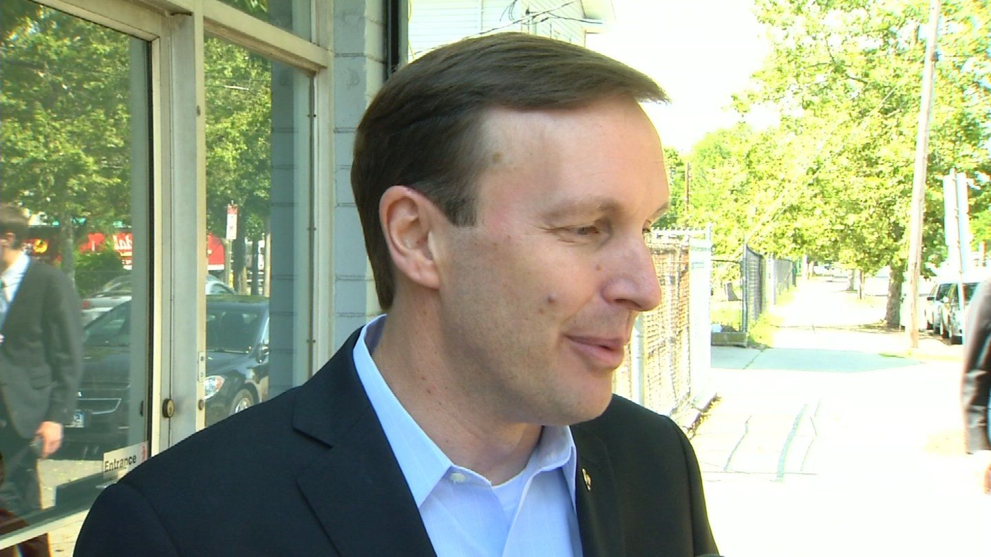 U.S. Sen. Chris Murphy talks about gun control in New Haven. (WFSB)