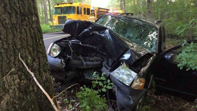 Haddam firefighters said a car crashed into a tree Saturday. (Haddam FD)