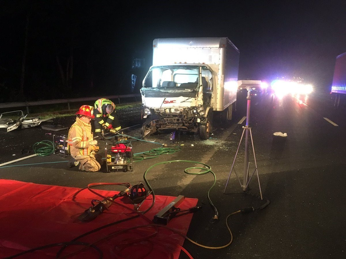 Crews working along I-84 in Tolland following a serious crash.  (Tolland Alert Twitter)