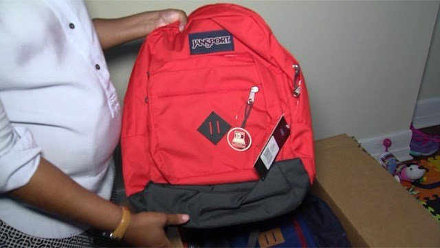 One of the backpacks donated by Jansport to Chavon Hamilton's fundraising efforts. (WFSB photo)