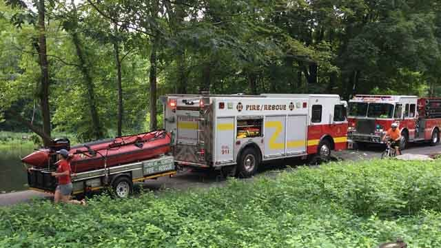 A 15-year-old boy was rescued after getting injured while swimming in the Farmington River in Burlington on Monday morning. (WFSB)
