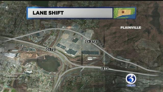 Two lanes will shift Monday night on I-84 east in Plainville. (WFSB photo)
