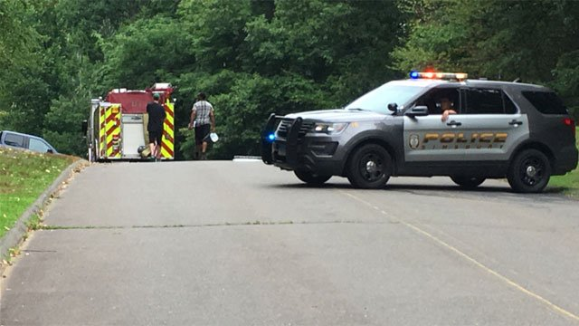 Man suffered a leg injury at Talcott Mountain State Park in Simsbury on Monday afternoon. (WFSB)
