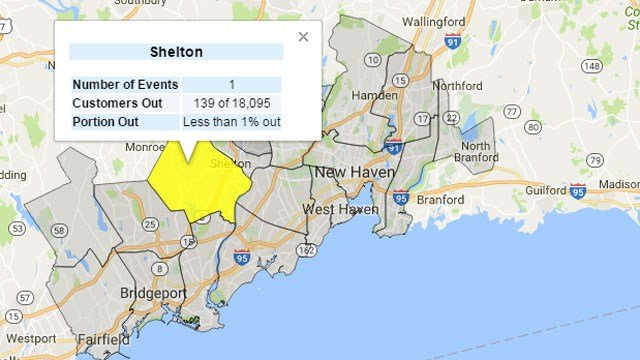United Illuminating is reporting139 of 18,095 customers in Shelton were without power. (WFSB)