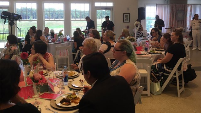 More than 35 military moms were treated at Operation Shower on Tuesday. (WFSB)