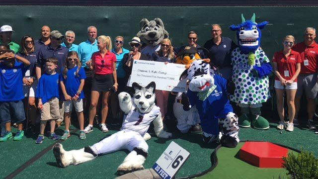 Channel 3 won $2,500 for the Channel 3 Kids Camp during the Travelers Championship celebrity mini golf tournament. (WFSB photo)