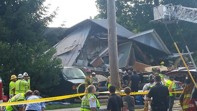 Multiple people were trapped after a house explosion and collapse in Vernon. (submitted)