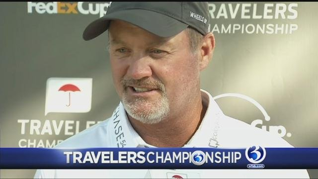 UHart graduate Jerry Kelly is one of the leaders at the Travelers Championship. (WFSB)