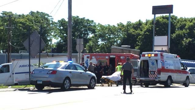A state marshal's car was involved in a crash in Waterbury on Monday. (WFSB)
