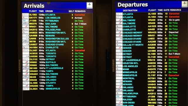 Flight cancellations from a computer outage on Monday continued to affect Delta Airlines customers on Tuesday. (WFSB photo)