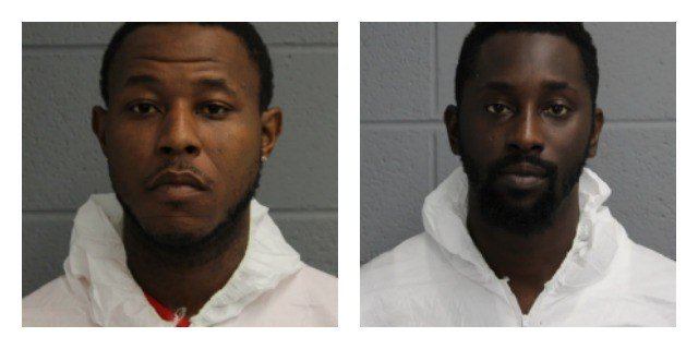 Anthony Middleton (right) and Kristopher Simmons, arrested for trying to purchase items from Verizon store with fake identification. (North Haven Police Department)