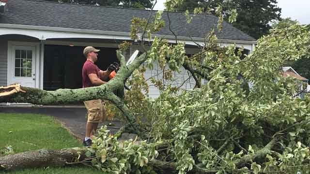 North Haven residents are cleaning up after a possible small tornado moved through town on Wednesday. (WFSB)