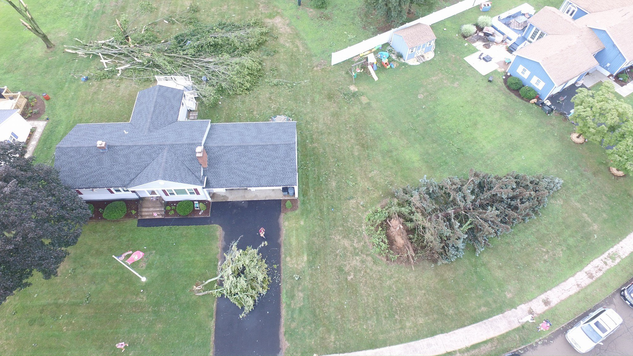 North Haven police said it is believe a possible small tornado ripped through the Montowese section of town on Wednesday afternoon (JA2 Aerial Productions)