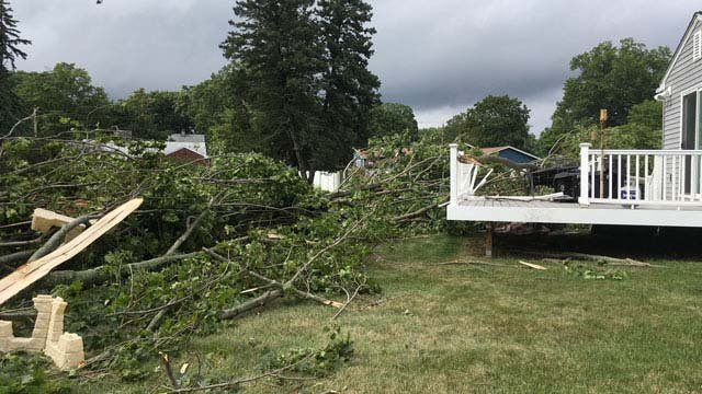 A small tornado touched down in North Haven Wednesday afternoon. (WFSB photo)