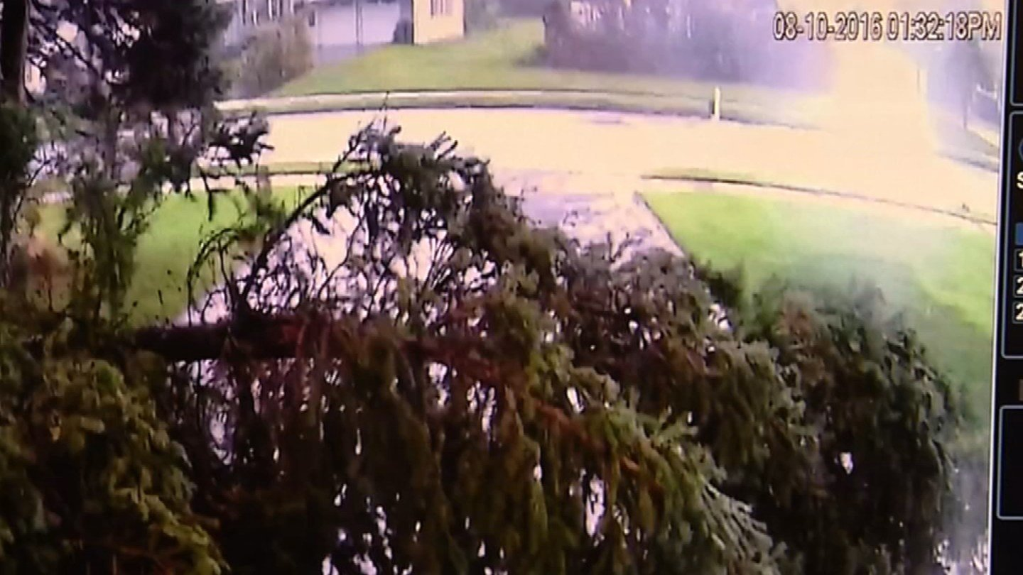 A neighbor's surveillance camera captured footage of trees falling during Wednesday's tornado in North Haven. (iWitness photo)