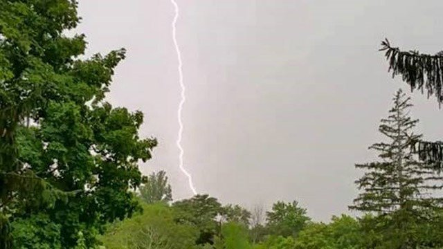More than 103 lightning strikes were reported during the storm, including this one in Montville. (William O'Connell/iWitness photo)