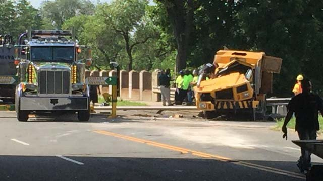 Crews responded to a street sweeper rollover in the area of Willow Street in New Haven. (WFSB)