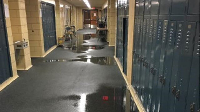 The halls were flooded at Woodrow Wilson Middle School in Middletown. (Dan Drew)