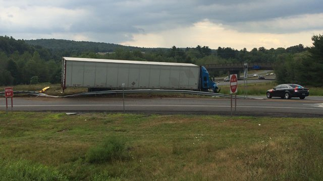Exit 71 on I-84 WB closed due to a tractor trailer crash in Willington.  (WFSB)
